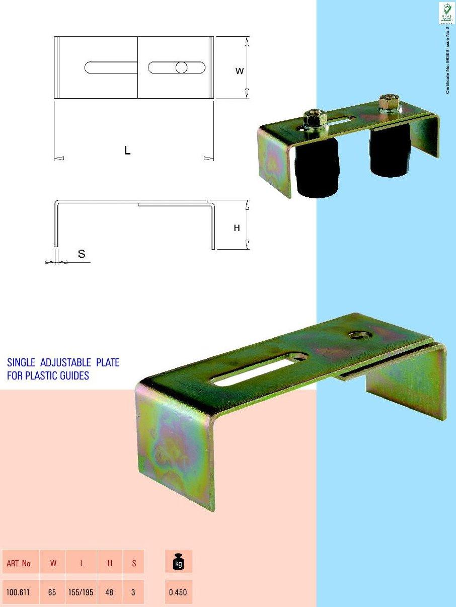 Placa dubla ajustabila pentru ghidaje plastic