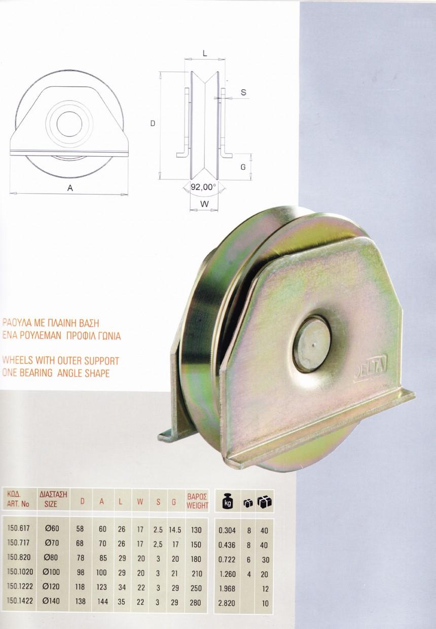 Roti cu suport exterior si un rulment, profil unghiular